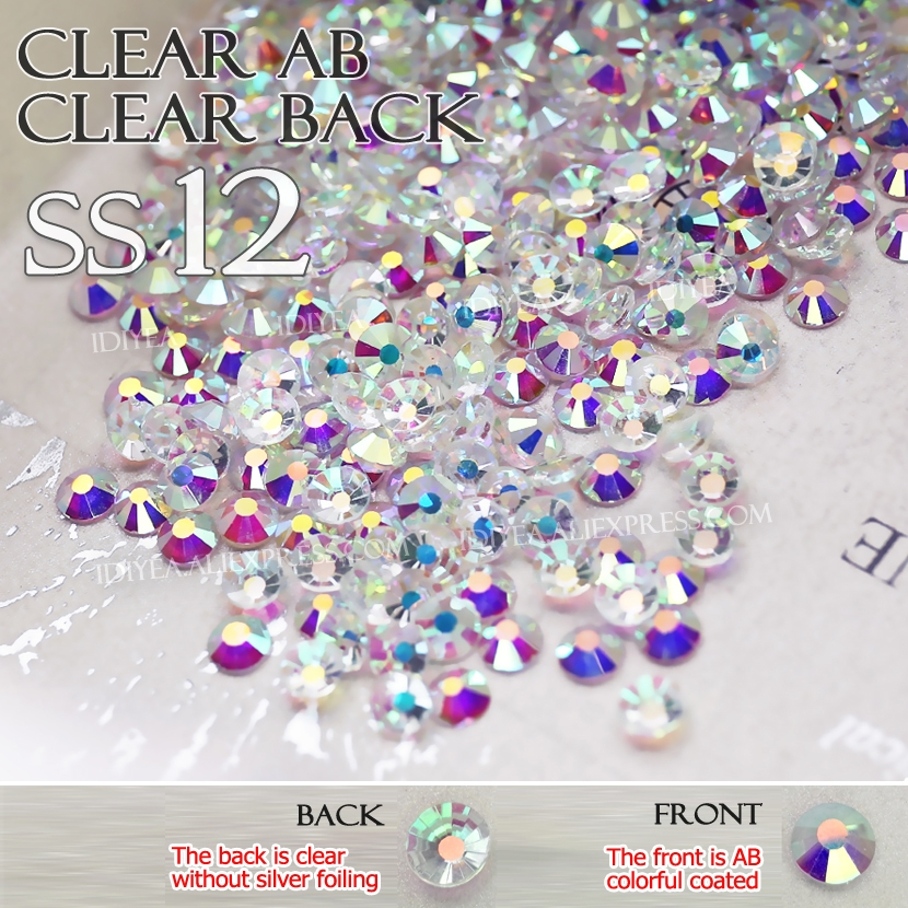SS12 1440Pcs Clear AB Clear back 3D Nail Art naked Rhinestones for DIY manicure design Non hot fix crystal glitters strass nails
