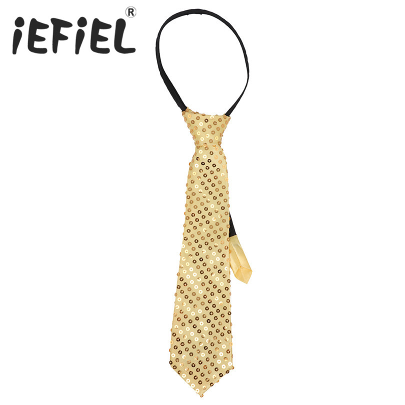 iEFiEL Fashion Mens Women Adults Unisex Sequins Pre-tied Tie Necktie with Adjustable Zipper for Party Costume Magic Show Cosplay