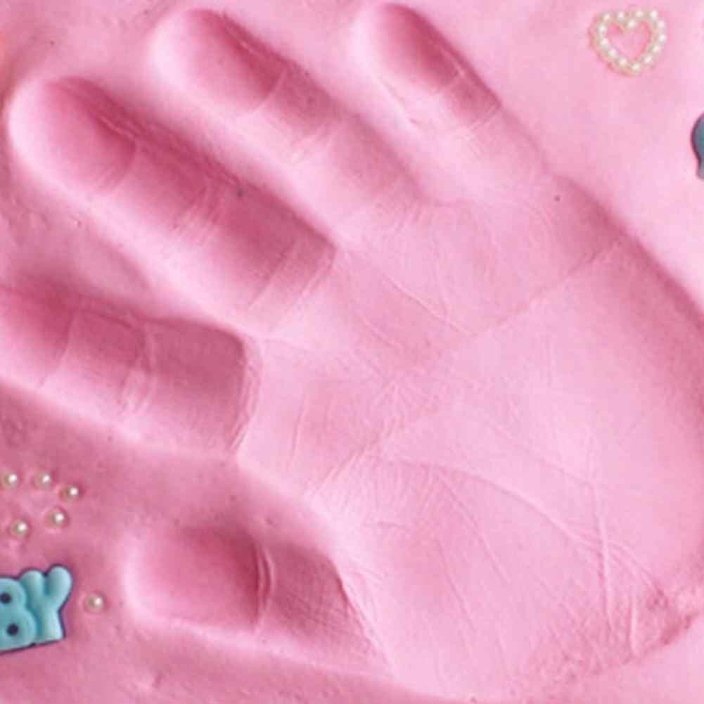 Pegada do bebê Ultra-Leve Tridimensional Argila Ar Seco E Macio Do Bebê Mãos E Pés Pegada Imprint Lama Fundido Brinquedo DIY multi-Cor