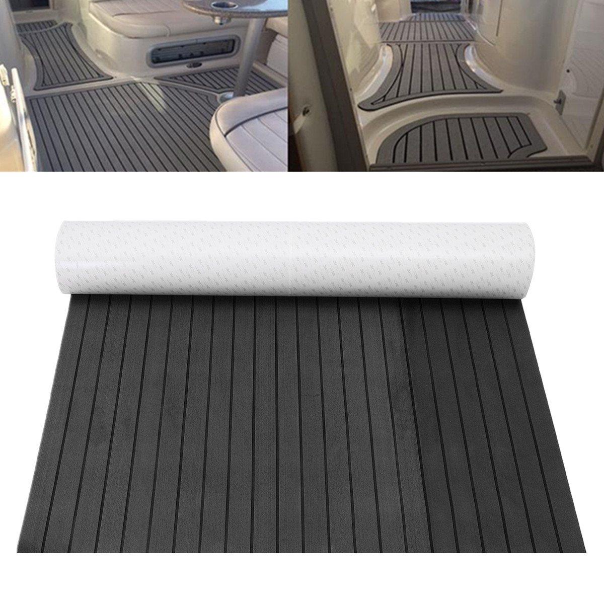 1200mmx2400mm EVA FOAM Mat Teak Sheet <font><b>Flooring</b></font> Decking Sheet RV Touring Car Marine Boat Dark Grey with Black Lines Mat