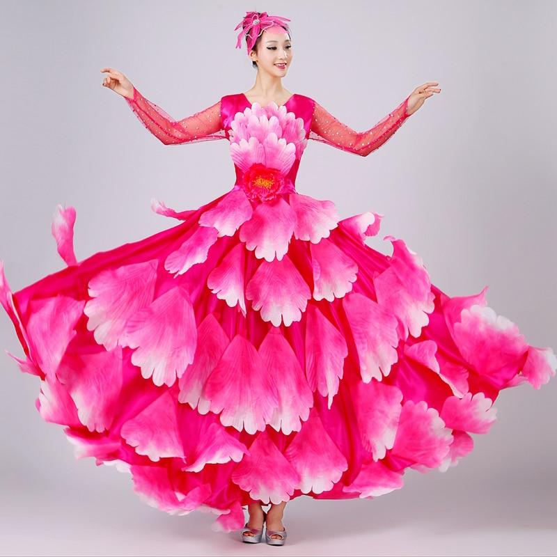 Spanish Bullfight Belly Dance Dress Skirt Long Robe Flamenco Fille Skirts Red Flamenco Dresses For Women