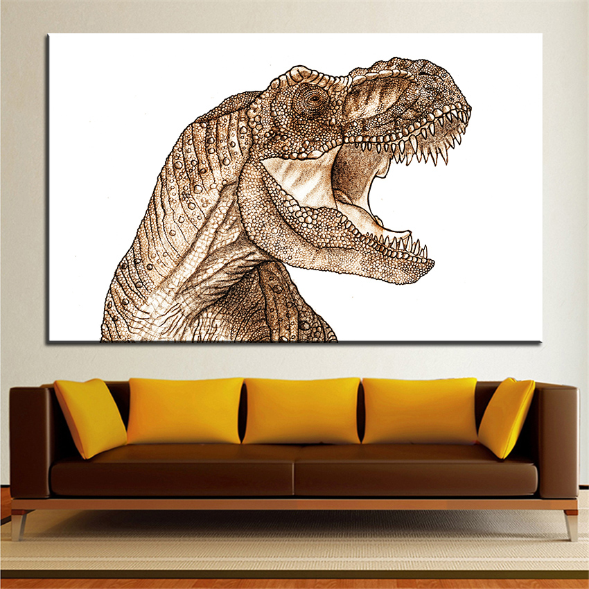 Grande taille Impression Peinture À L'huile t rex Mur peinture