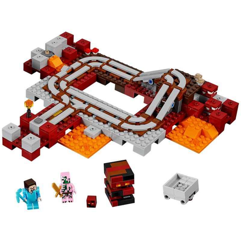 Le chemin de fer Nether blocs de construction modèle briques jouets compatibles Legoings 21130 18024