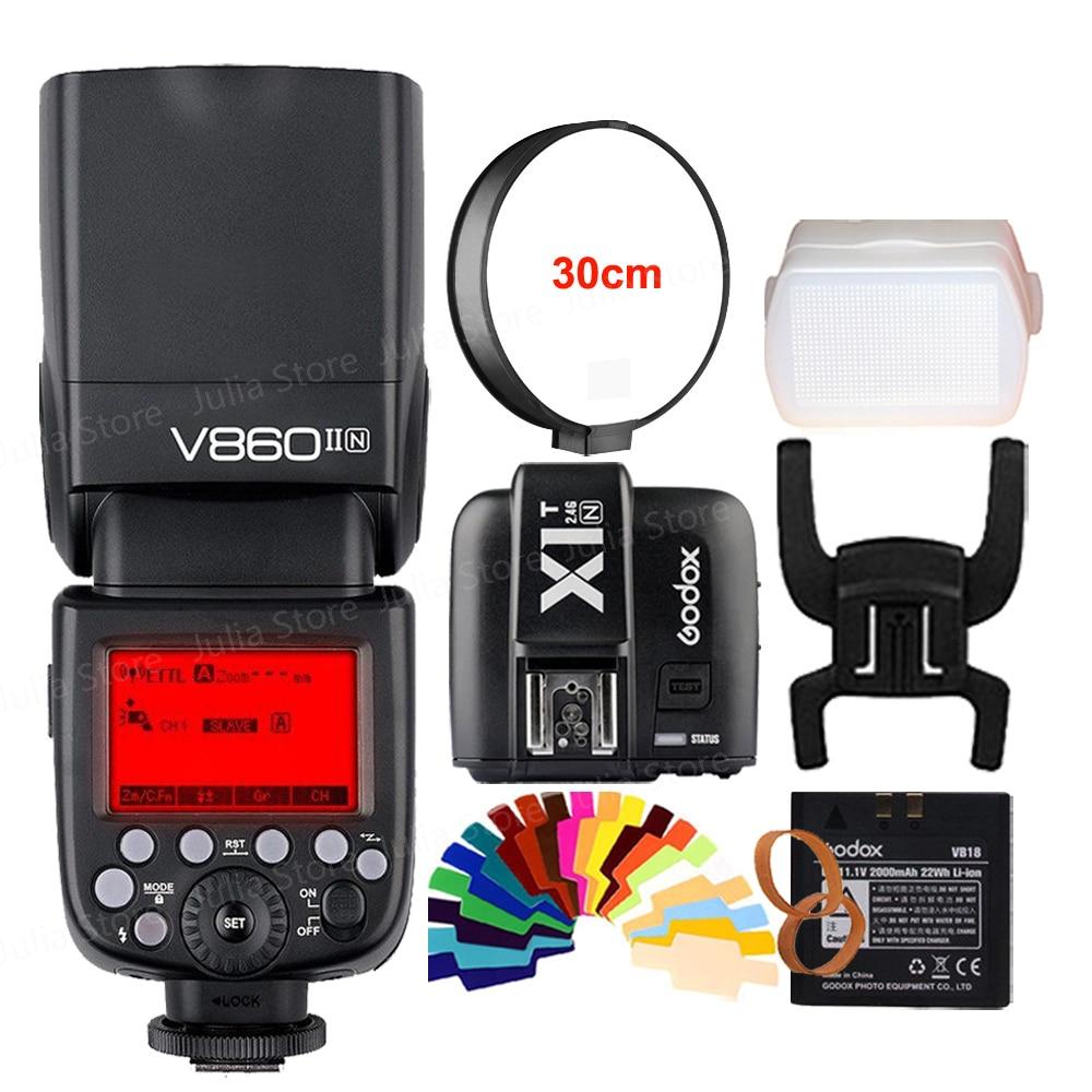 Godox V860II V860II-N GN60 i-TTL HSS 1/8000 s Flash Speedlite w/li-ion Battery + X1T-N Trasmettitore Flash per Nikon + Regalo Kit