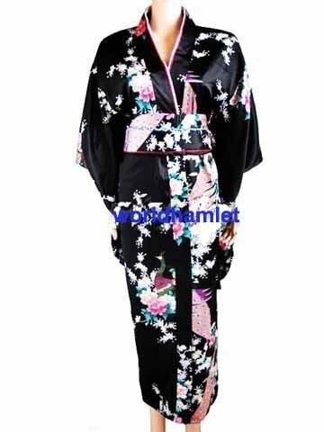new Junoesque Vintage Yukata Japanese Haori Kimono with Obi