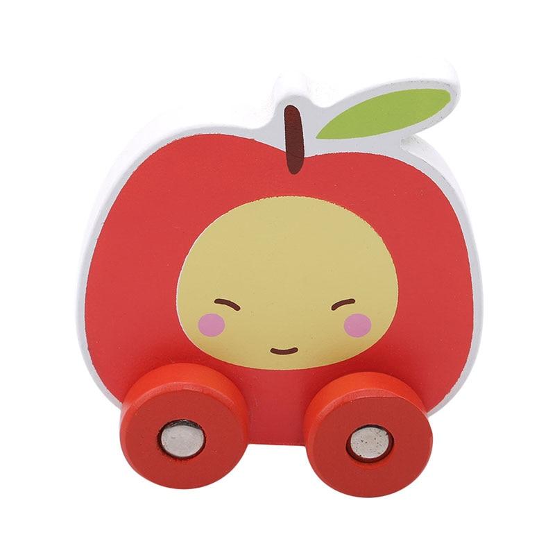 2019 Hot Koop Baby Houten Speelgoed Mini Blok Fruit Auto Voertuig Blokken Apple/perzik/banaan/peer Kleine Maat Kleur Cartoon Auto Speelgoed Levendig En Geweldig In Stijl