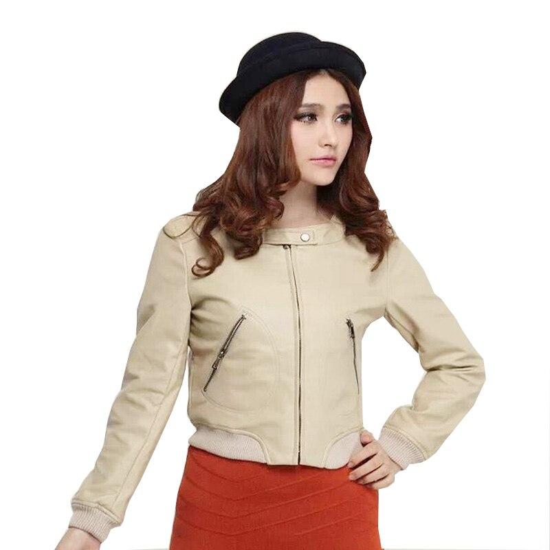 NDUCJSI   Basic     Jackets   Casual Coats Women's PU Leather   Jacket   Zipper Solid Colors Autumn Winter Ladies Slim O-Neck Black Coat