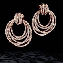 GODKI Luxury Twist Circle pendientes colgantes para mujeres circón cúbico de boda cristal CZ Dubai pendiente nupcial joyería de moda 2019