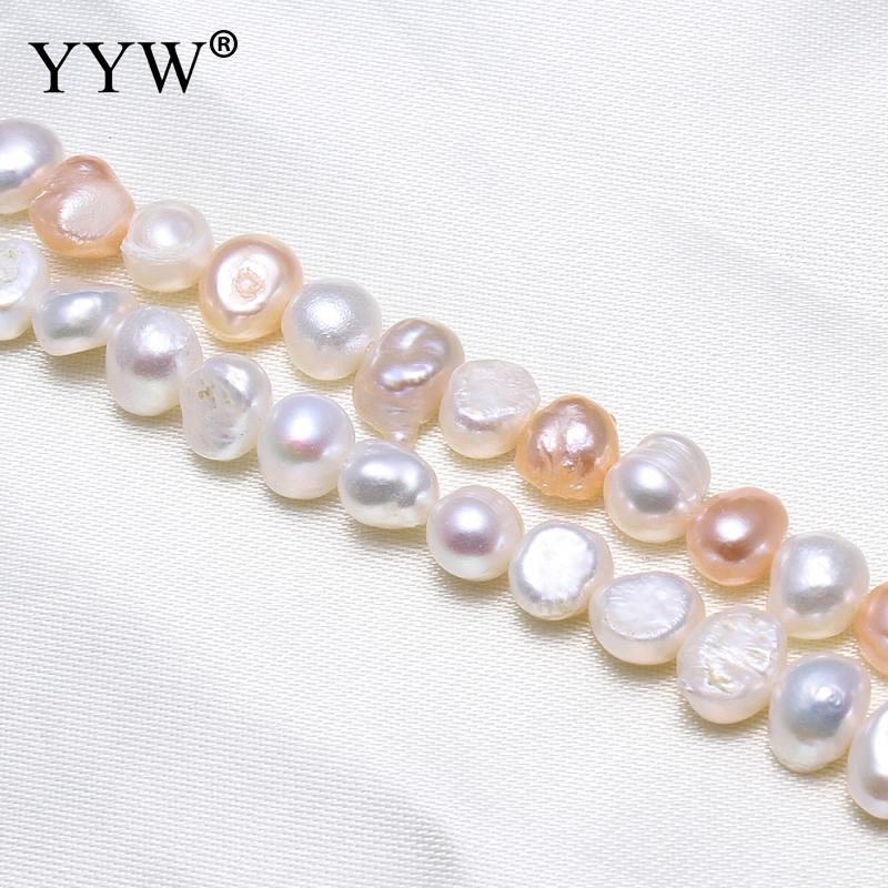 Baroque Cultured Freshwater Pearl Beads, natural,white mixed color 6-7mm, Hole:Approx 0.8mm, Sold Per Approx 15.5 Inch Strand