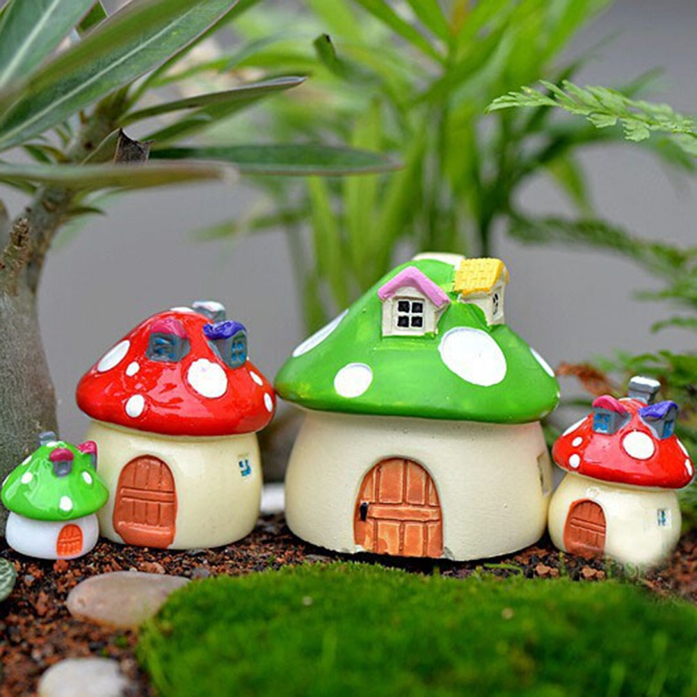 Cute 3 Sizes DIY Resin Fairy Garden Craft Decoration Miniature Micro Gnome Terrarium Mediterranean House Mushroom Castle Gift