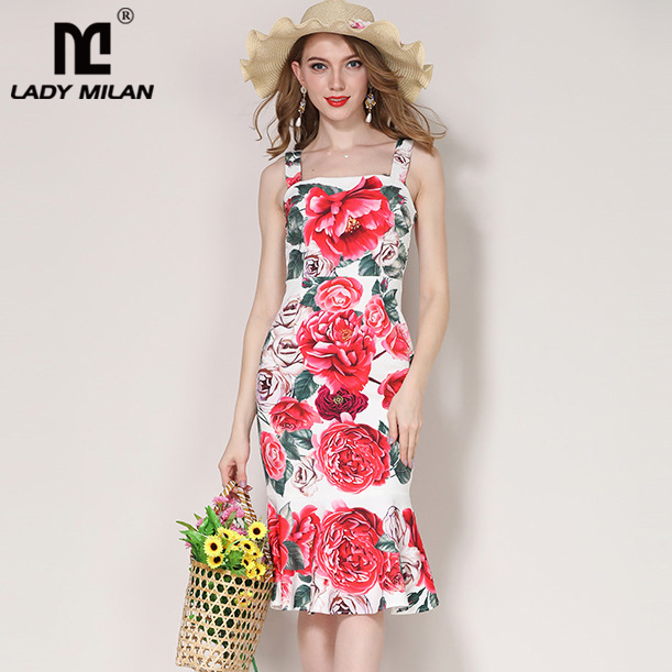 Lady Milan 2018 Womens Spaghetti Straps Floral Printed Fashion Casual Summer Mermaid Holiday Dresses