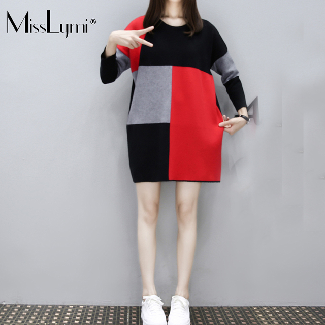 MissLymi 4XL Plus Size Women Pullover Vintage Sweater Dresses 2017 Autumn  Winter Plaid Patchwork Long Sleeve Loose knitted Dress 385a02722724