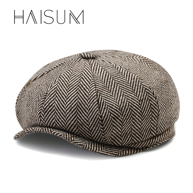 Haisum David Beckham Same Design Casual Octagonal Cap Mens Beret Hats Fashion Jason Statham Gorras Planas Solid Beret Cap HN55