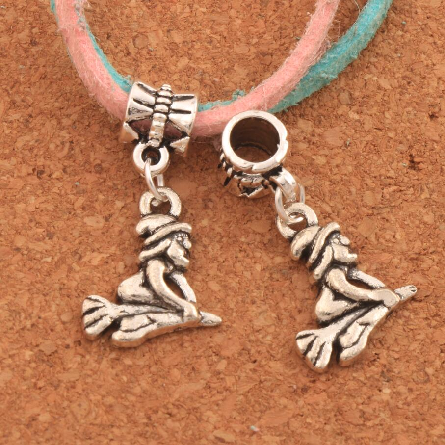 Witch On Broom Big Hole Beads 18PCS Antique Silver Dangle Fit European Bracelets B118 28.3x14.3mm