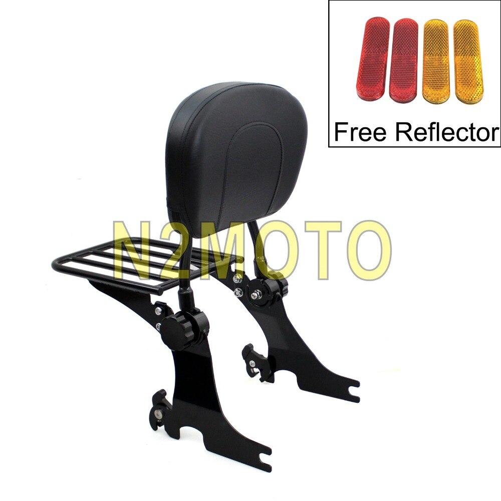 Black Adjustable Backrest Sissy Bar Detachable Luggage Rack for Harley Sportster 883 1200 XL883 XL1200 1994