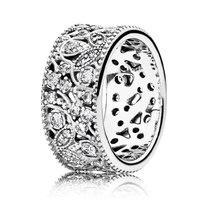 Authentic 925 Anel de Prata Cintilante Deixa Declaração Com Anéis de Cristal Para Mulheres Presente de Casamento Finas Jóias Pandora