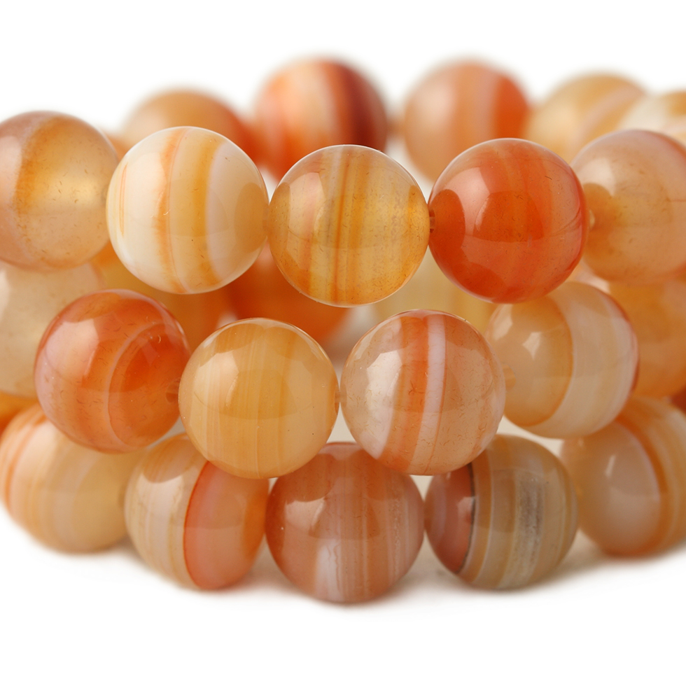 Natural Loose Banded Red Sardonyx Agat Beads Round Stripe For Jewelry Making 6-12mm DIY Jewellery Wholesale Best Selling