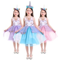 2019 New Cute 2pcs Flower Unicorn Clothe Set for Girls Baby Kids Birthday Outfit Cake Smash Unicorn Party Tutu Tulle Dress Up
