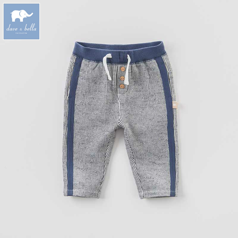 DBA7844 dave bella autumn infant baby boys full length fashion striped pants children toddler pants boys trousers boys ribbed striped pants