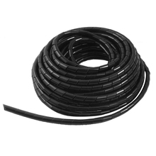 Brand New Black 8mm Outside Dia 12M Polyethylene Spiral Cable Wire Wrap Tube недорого