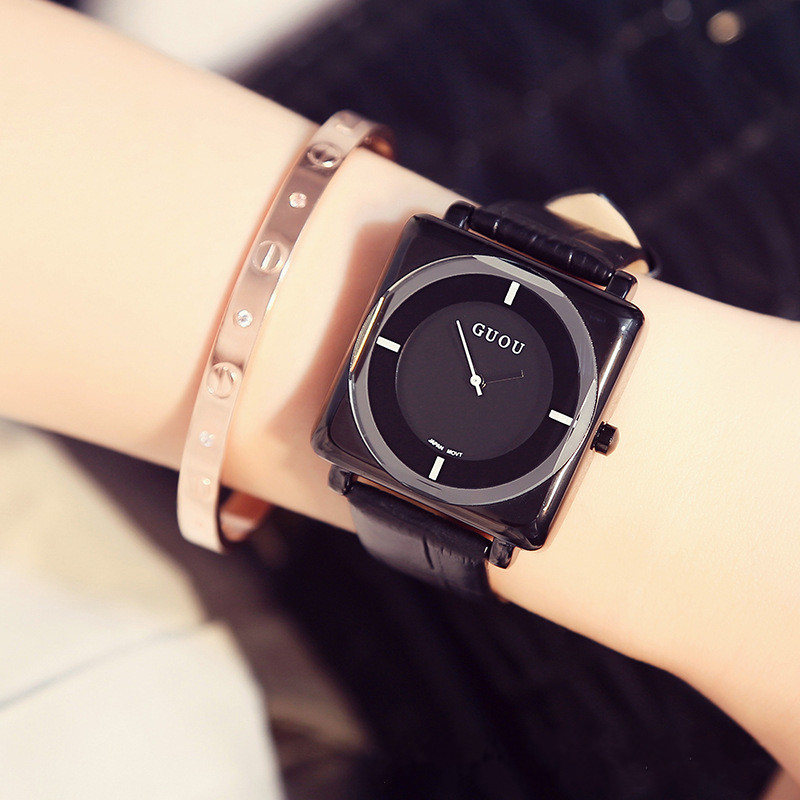 GUOU Ladies Fashion Dress Watches Women Casual Leather Quartz Wrist Watch Women Clock Female reloje mujer hodinky montre femme ladies watches fashion red simple design black water resistant life quartz watch dress leather clock women casual relojes mujer