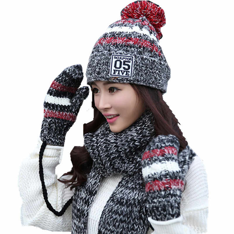b4f5c8804df winter warm plush thick beanie wool ball +long knit scarf +gloves 05 three  pc