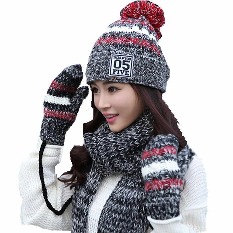 543ae81c2ad winter warm plush thick beanie wool ball +long knit scarf +gloves 05 three  pc