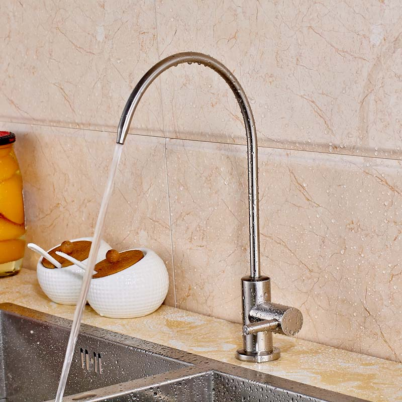 Countertop Kitchen Sink Faucet Pure Water Tap Solid Brass Swivel Spout Single Cold Water Mixer Tap golden brass kitchen faucet dual handles vessel sink mixer tap swivel spout w pure water tap