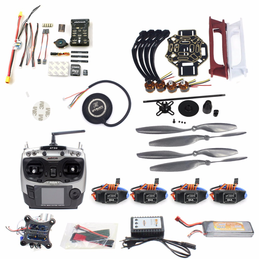 DIY RC FPV Drone Kit 4 ejes Quadcopter con F450 450 marco PIXHAWK PXI PX4 Control de vuelo 920KV Motor GPS AT9S transmisor RX