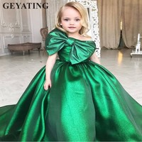 Emerald Green Ball Gown Girl's Pageant Dresses 2018 One Shoulder Flower Girls Dresses Big Bow First Communion Dresses for Girls