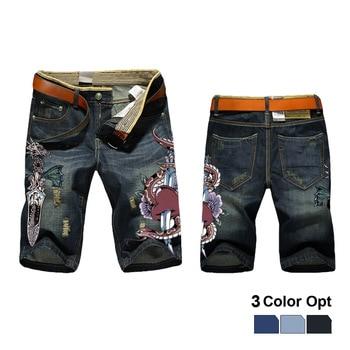 Men Boy Short Jeans Skinny Hole Ripped Retro Destroy Denim Straigh Trousers Print Design Beach Hip Hop Skate Pants Sea Dragon