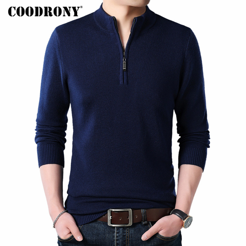 COODRONY Cashmere Sweater Men Clothes 2020 Autumn Winter Thick Warm Wool Pullover Men Casual Zipper Turtleneck Pull Homme 8142