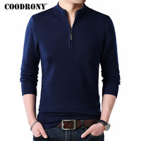 COODRONY Cashmere Sweater Men Clothes 2019 Autumn Winter Thick Warm Wool Pullover Men Casual Zipper Turtleneck Pull Homme 8142