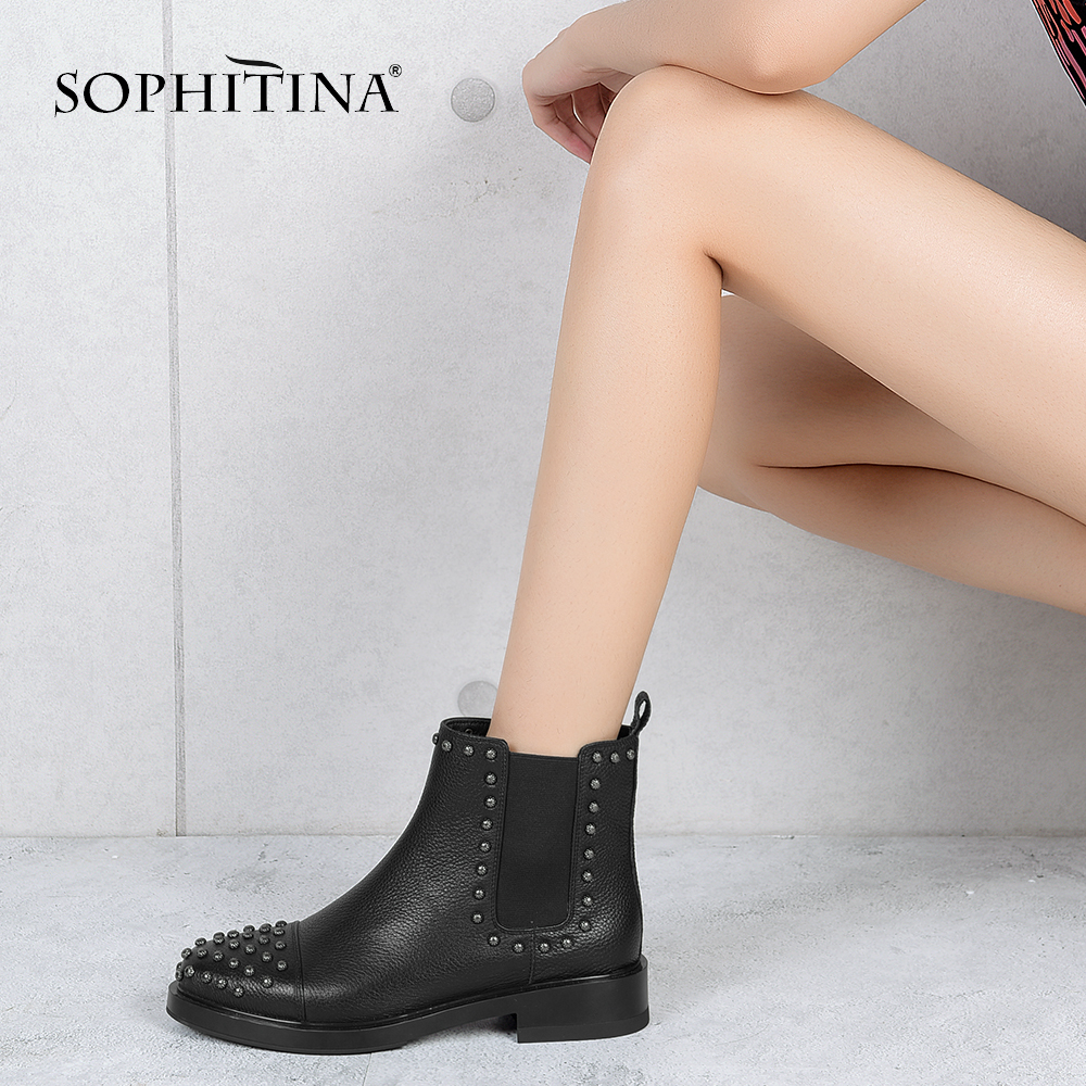 SOPHITINA Rivet Woman Boots 2018 Handmade Comfortable Round Toe Chelsea Boots High Quality Low Square Heels Fashion Shoes M12 high quality rivet mirrored square oversized sunglasses