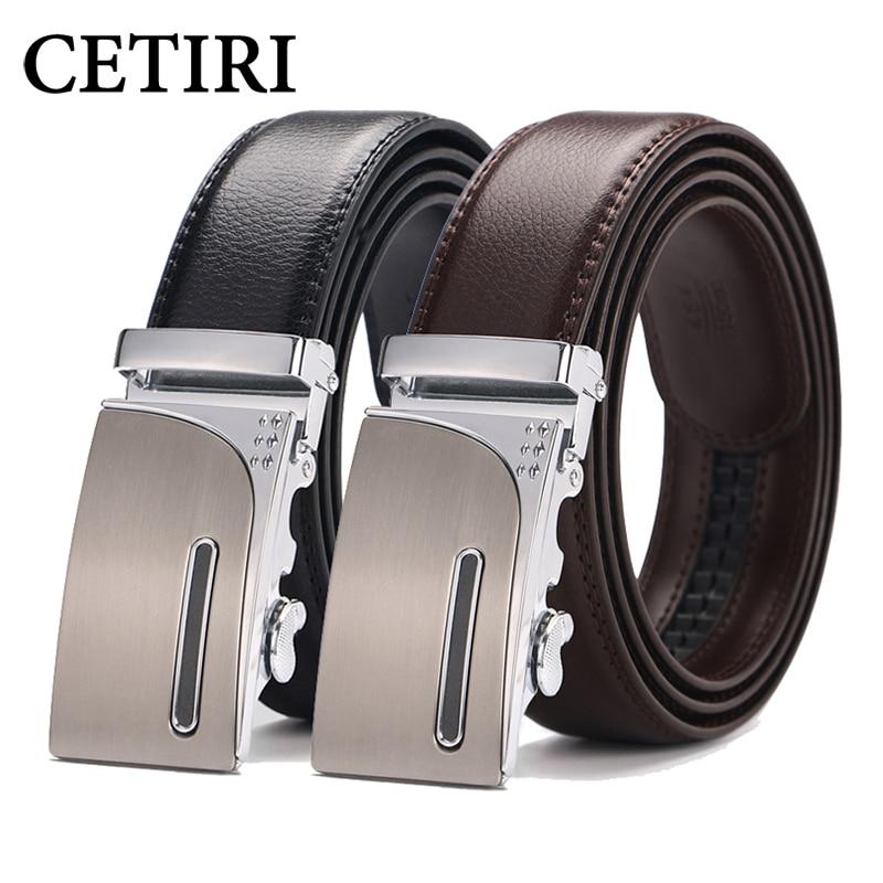 100% Kwaliteit Cetiri Mannen Ratel Klik Riem 2018 Hoge Kwaliteit Designer Echt Lederen Riemen Mode Automatische Gesp Riemen Cinturones Hombre