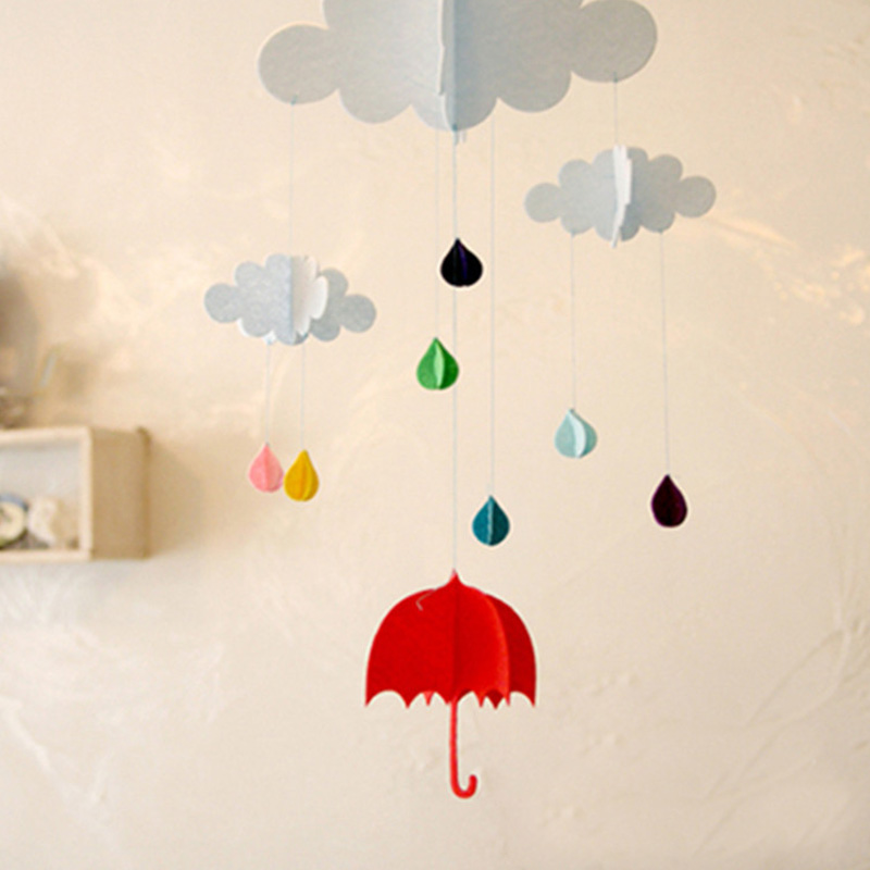 3d Hanging Cloud Rainy Umbrella Elephant Diy Happy