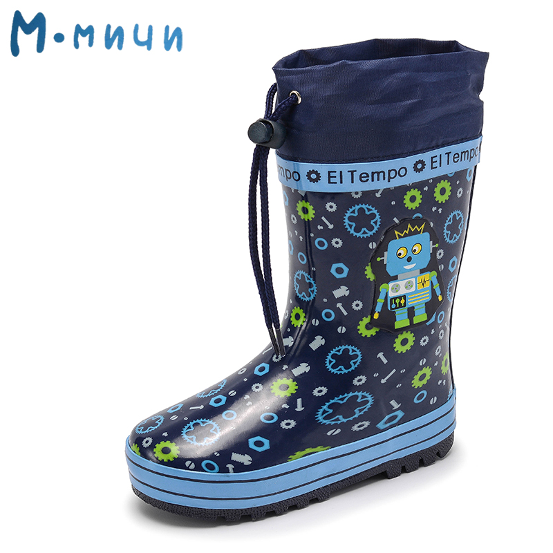MMNUN Children Rain Boots 2018 New Rainning Warm Rainboots Toddler Kids Boots Boys Fashion Children's Rubber Shoes kelme 2016 new children sport running shoes football boots synthetic leather broken nail kids skid wearable shoes breathable 49