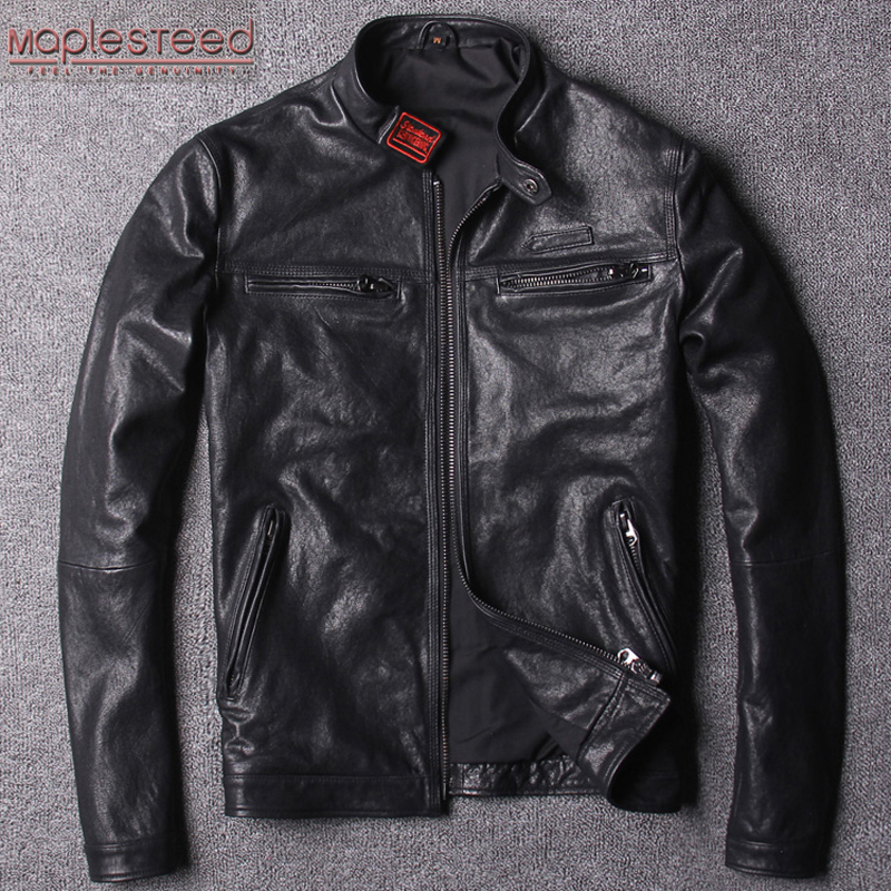 MAPLESTEED Tanned Leather Jacket Men Natural Goatskin Coat Slim Fit Black Casual Boy's Leather Clothing Overcoat Spring M120