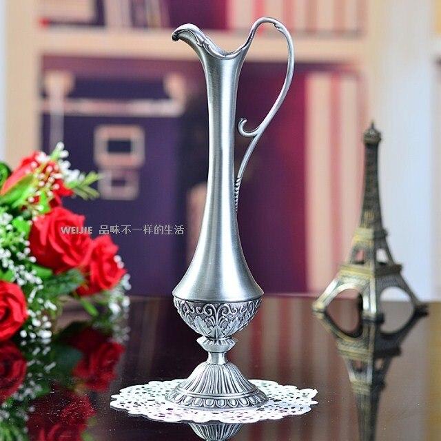 Ручная работа, китайский цвет, металл, горячая Распродажа, Оловянная металлическая Цветочная ваза для украшения дома, тибетская Серебряная ...
