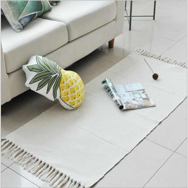 White Durable Cotton Handmade Woven Area Rug For Bedside/Bedroom/Livingroom Machine Washable Rugs And Carpet Hallway Floor Mat