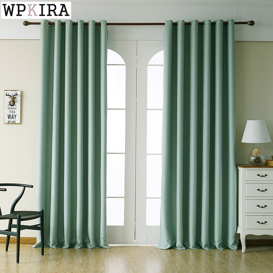 Us 4 35 31 Off Green Color Polyester Solid Curtains For Living Room Navy Blue Bedroom Window Kitchen Blinds 092 30 In