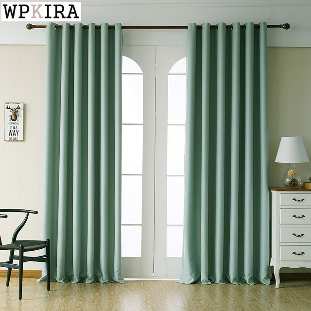 Green Color Polyester Solid Curtains For Living Room Navy Blue