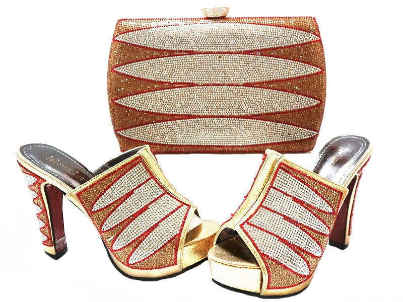 Фото SB8070 FREE SHIPPING RETAIL/WHOLESALE GOLD BROWN 5 INCHES WOMEN SANDAL AND MATCHING CLUTCHES BAG WITH MANY STONES NEWEST 2017