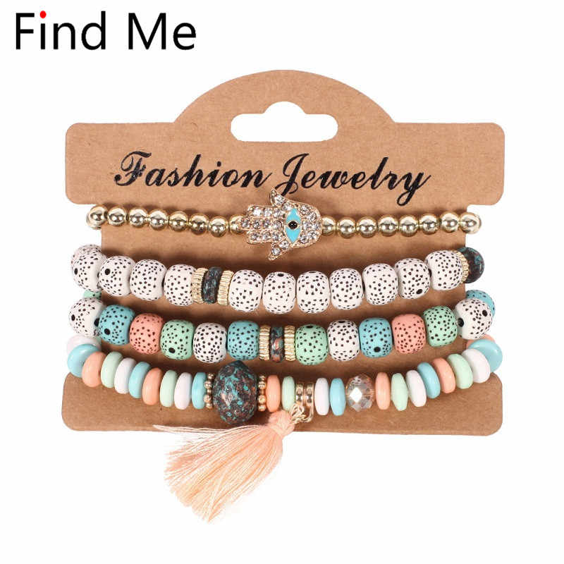 Find Me 2019 new Fashion Vintage Ethnic multilayer big beads Bracelets Boho Statement Flower Bangles Bracelets for Women Jewelry