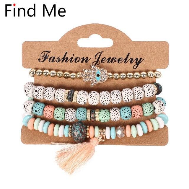 Finden Mich 2019 neue Mode Vintage Ethnische multilayer große perlen Armbänder Boho Erklärung Blume Armreifen Armbänder für Frauen Schmuck
