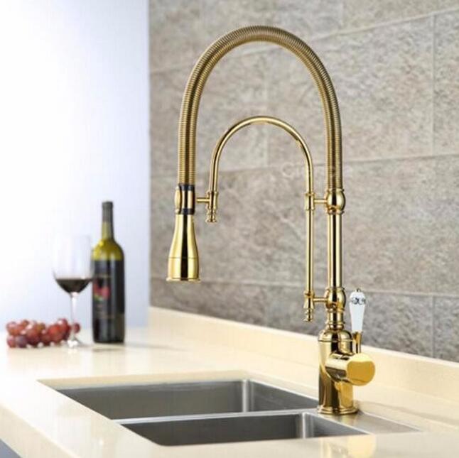 Nouveaux arrivants retirer le robinet de cuisine or cuisine évier mélangeur robinet Top qualité cuisine robinet vanité robinet d'eau robinet évier