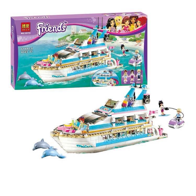 ФОТО BELA 618pcs/set 10172 New Dolphin Yachts Toy Original building blocks Friends L41015 ship