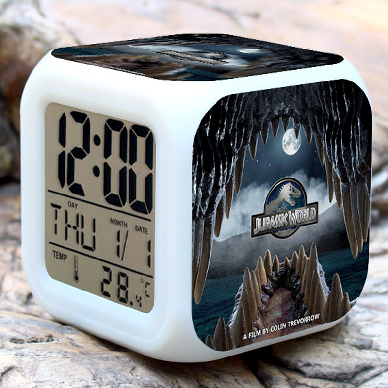 JURASSIC PARK Figures Alarm Clock ,Kids toy Gift Alarm Clock 7Colours Glowing LED Color Change Digital Alarm Clock Kids Toy GIFT