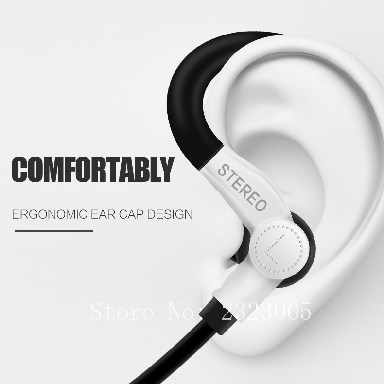Earhook In-Ear Stereo Kabel Olahraga Earphone Headset Antishock - Audio dan video portabel - Foto 3