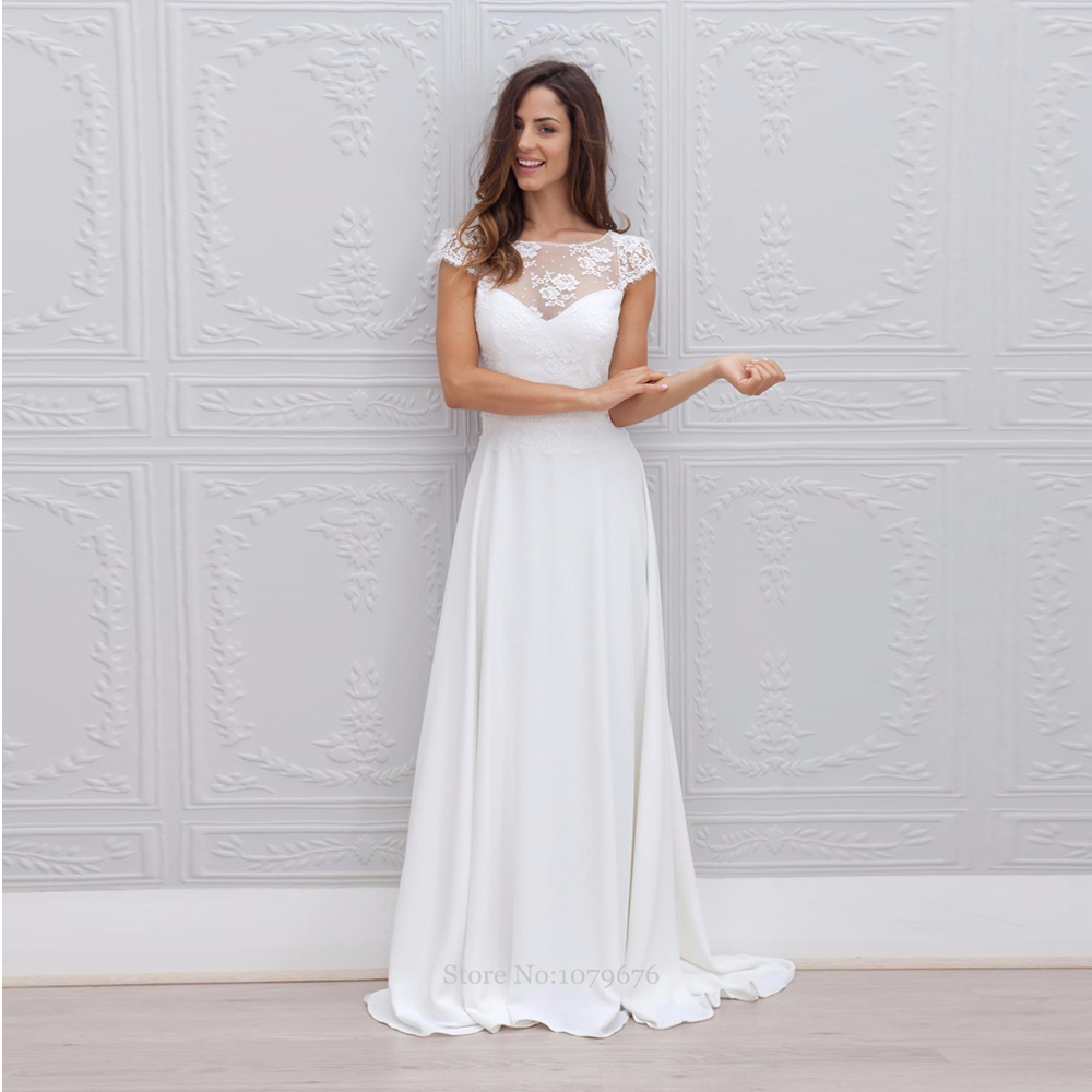 New style 2015 short sleeve white chiffon bridal gowns for New wedding dress styles
